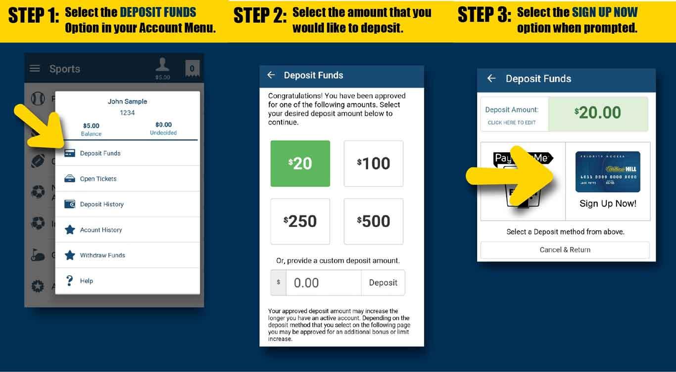 Opções de banco da William Hill mobile